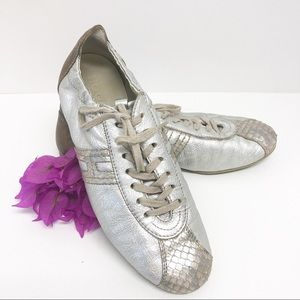 Silver Hogan Sneakers with Python trim